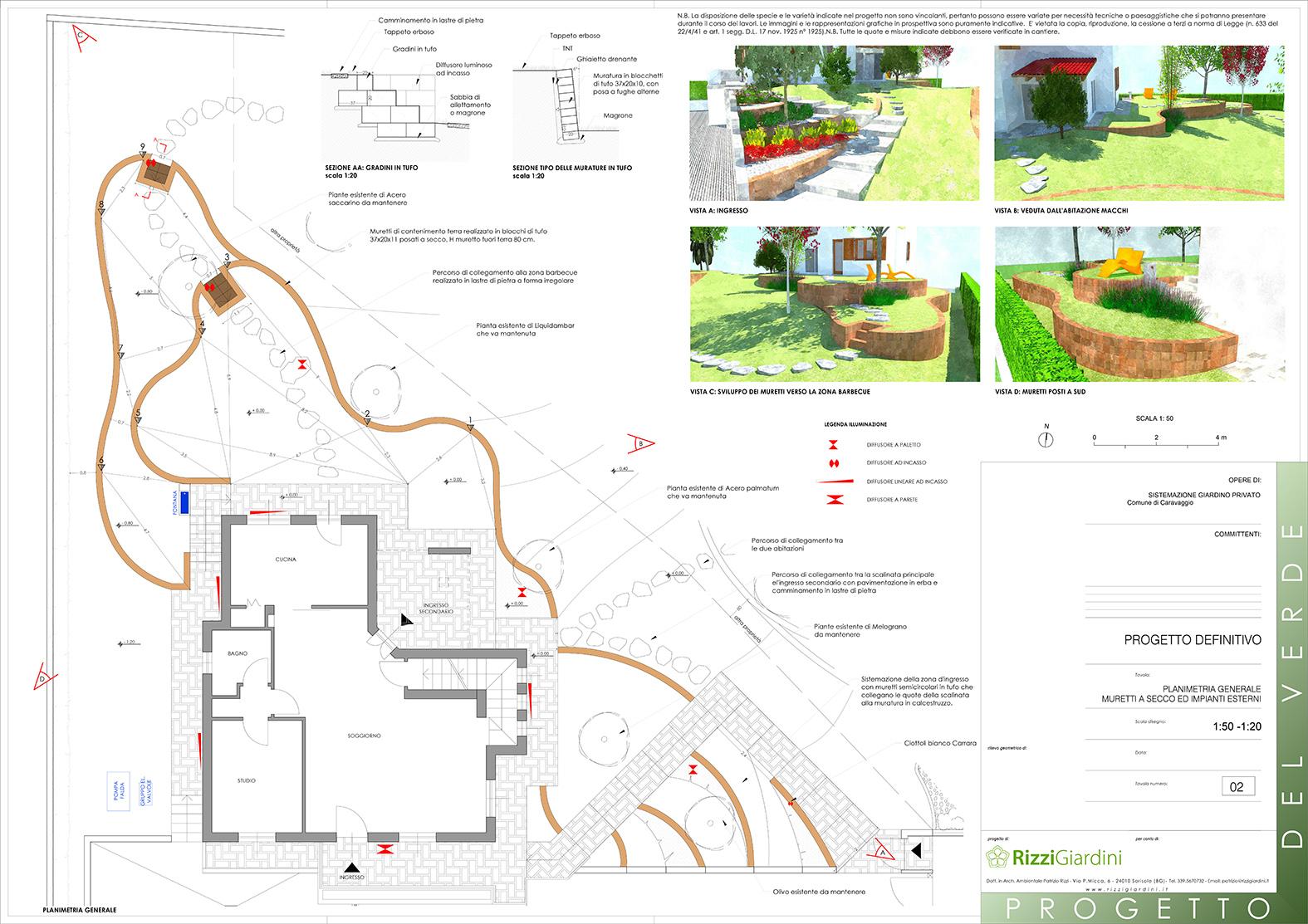 Super Giardino con terrazzamenti in tufo - Progettazione Giardini CI93