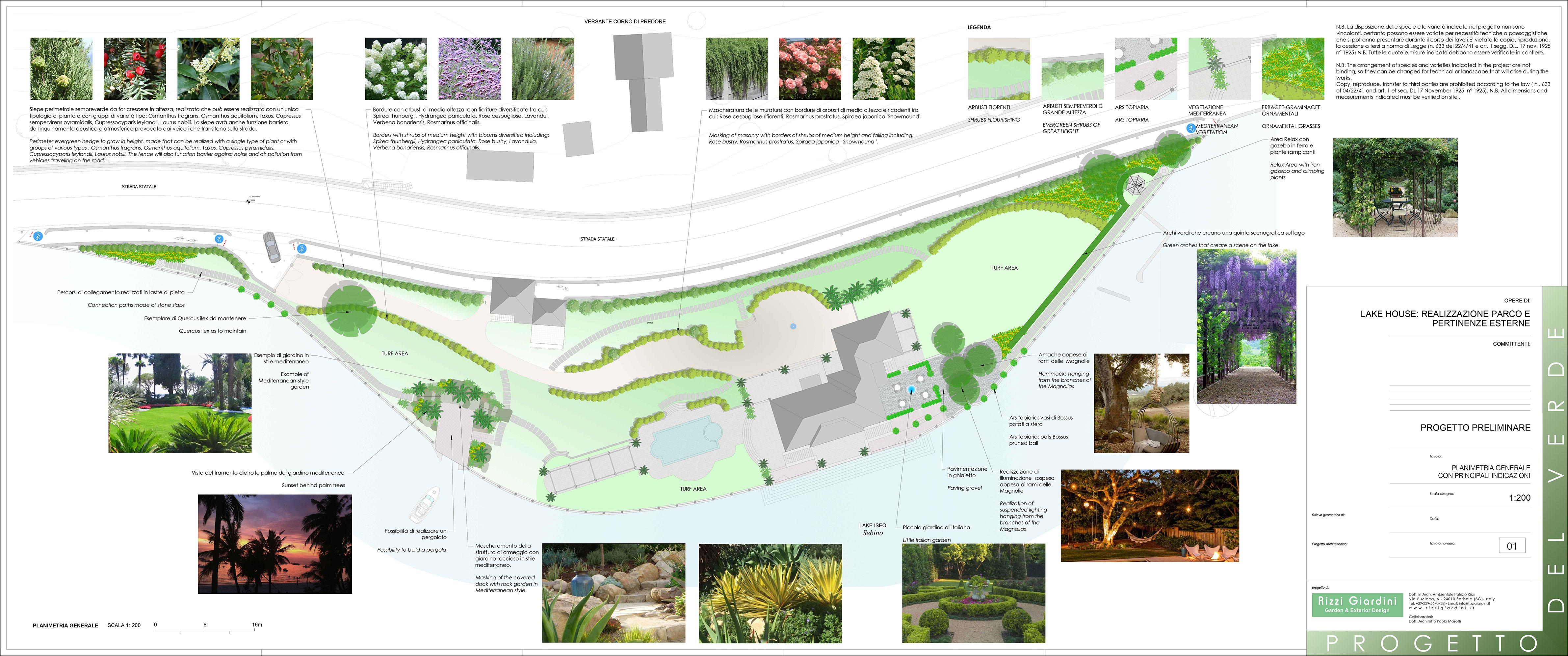 Progettazione parco villa con piscina lago iseo - Progetto per giardino ...